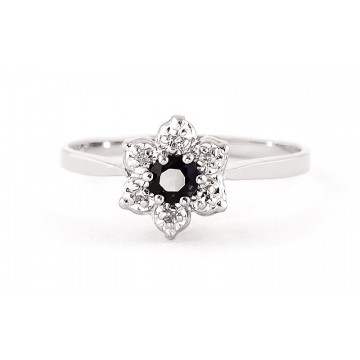 Sapphire & Diamond Wildflower Cluster Ring in Sterling Silver