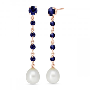 Sapphire & Pearl by the Yard Drop Earrings in 9ct Rose Gold