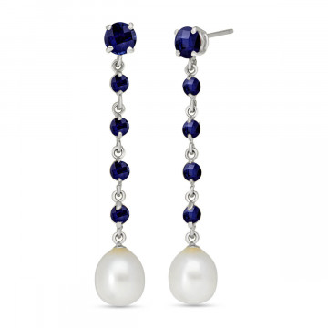 Sapphire & Pearl by the Yard Drop Earrings in 9ct White Gold