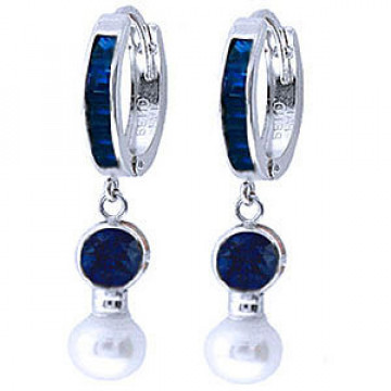 Sapphire & Pearl Huggie Earrings in 9ct White Gold