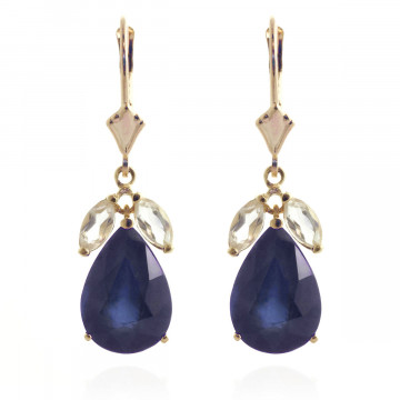 Sapphire & White Topaz Drop Earrings in 9ct Gold