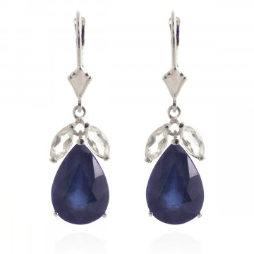 Sapphire & White Topaz Drop Earrings in 9ct White Gold