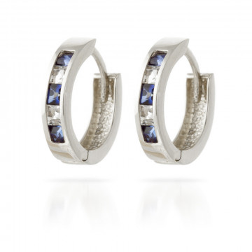 Sapphire & White Topaz Huggie Earrings in 9ct White Gold