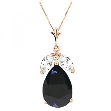 Sapphire & White Topaz Pear Drop Pendant Necklace in 9ct Rose Gold