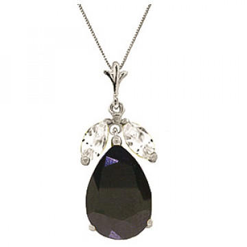 Sapphire & White Topaz Pear Drop Pendant Necklace in 9ct White Gold