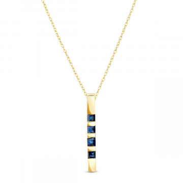 Sapphire Bar Pendant Necklace 0.35 ctw in 9ct Gold