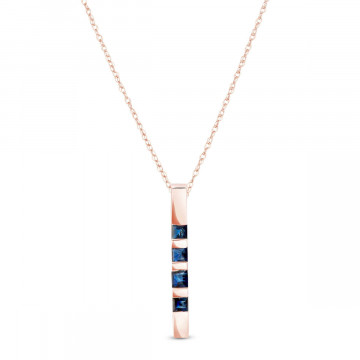 Sapphire Bar Pendant Necklace 0.35 ctw in 9ct Rose Gold