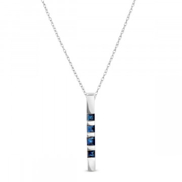 Sapphire Bar Pendant Necklace 0.35 ctw in 9ct White Gold