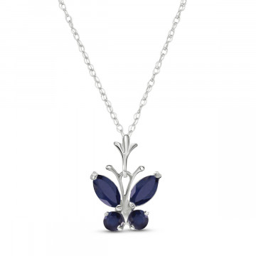 Sapphire Butterfly Pendant Necklace 0.6 ctw in 9ct White Gold