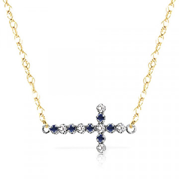 Sapphire Cross Pendant Necklace 0.24 ctw in 9ct Gold