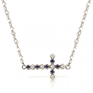 Sapphire Cross Pendant Necklace 0.24 ctw in 9ct White Gold