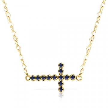Sapphire Cross Pendant Necklace 0.3 ctw in 9ct Gold