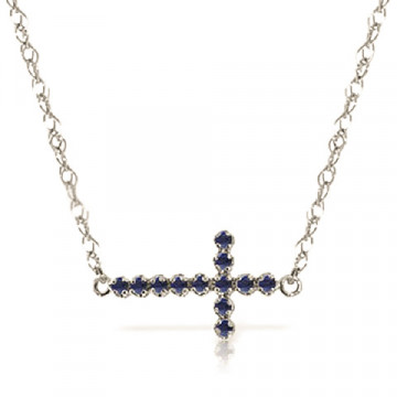 Sapphire Cross Pendant Necklace 0.3 ctw in 9ct White Gold