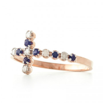 Sapphire Cross Ring 0.24 ctw in 9ct Rose Gold