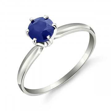 Sapphire Crown Solitaire Ring 0.65 ct in 9ct White Gold