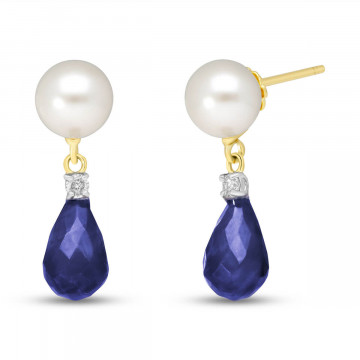 Sapphire, Diamond & Pearl Drop Earrings in 9ct Gold