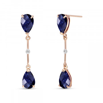 Sapphire Drop Earrings 7.01 ctw in 9ct Rose Gold