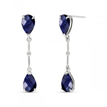 Sapphire Drop Earrings 7.01 ctw in 9ct White Gold