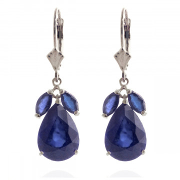 Sapphire Drop Earrings 9.3 ctw in 9ct White Gold