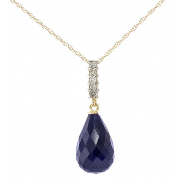 Sapphire Drop Pendant Necklace 8.88 ctw in 9ct Gold