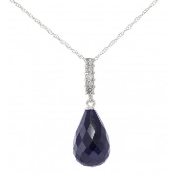 Sapphire Drop Pendant Necklace 8.88 ctw in 9ct White Gold