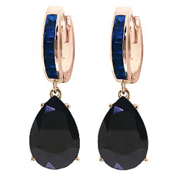 Sapphire Droplet Huggie Earrings 1.3 ctw in 9ct Rose Gold