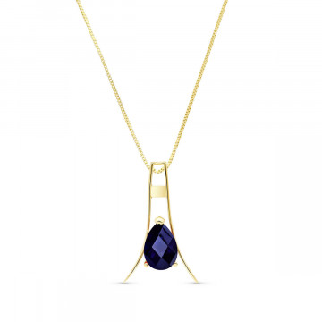 Sapphire Eiffel Pendant Necklace 1.5 ct in 9ct Gold