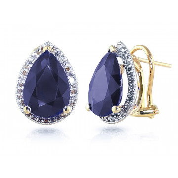Sapphire French Clip Halo Earrings 10.52 ctw in 9ct Gold