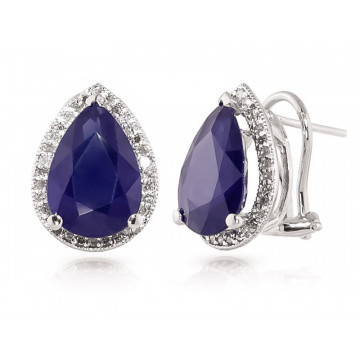 Sapphire French Clip Halo Earrings 10.52 ctw in 9ct White Gold