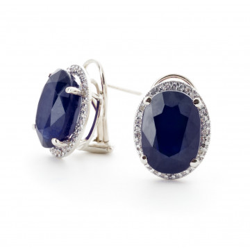 Sapphire French Clip Halo Earrings 13.16 ctw in 9ct White Gold