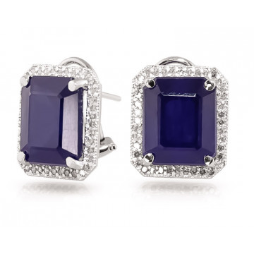 Sapphire French Clip Halo Earrings 13.2 ctw in 9ct White Gold