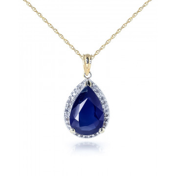 Sapphire Halo Pendant Necklace 5.26 ctw in 9ct Gold