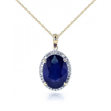 Sapphire Halo Pendant Necklace 6.58 ctw in 9ct Gold