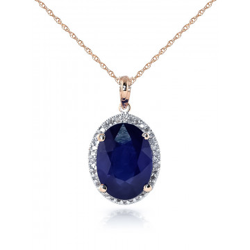 Sapphire Halo Pendant Necklace 6.58 ctw in 9ct Rose Gold