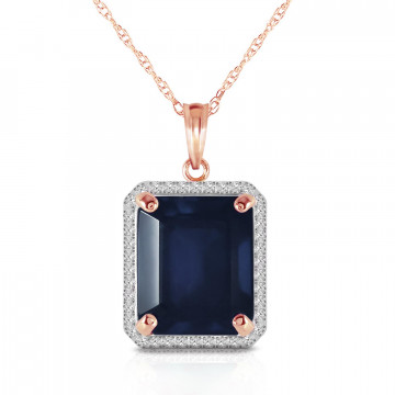 Sapphire Halo Pendant Necklace 6.6 ctw in 9ct Rose Gold