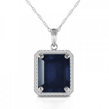 Sapphire Halo Pendant Necklace 6.6 ctw in 9ct White Gold