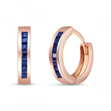 Sapphire Huggie Earrings 1.3 ctw in 9ct Rose Gold