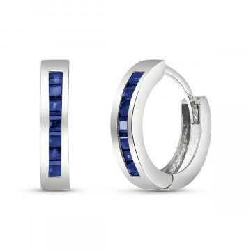 Sapphire Huggie Earrings 1.3 ctw in 9ct White Gold