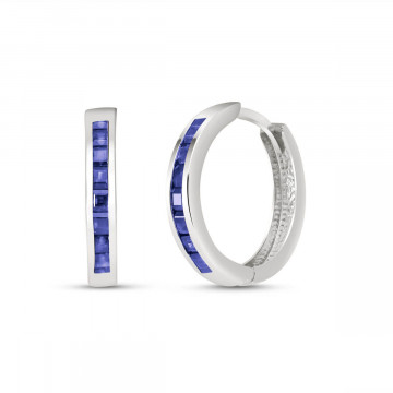 Sapphire Huggie Earrings 1.85 ctw in 9ct White Gold