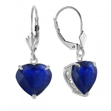 Sapphire Large Heart Earrings 8.6 ctw in 9ct White Gold