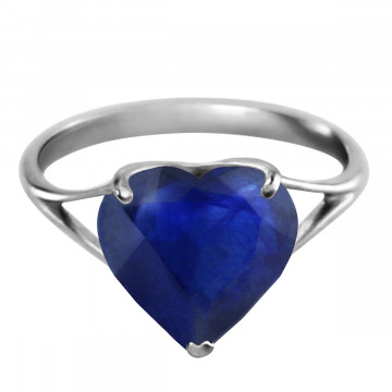 Sapphire Large Heart Ring 4.3 ct in Sterling Silver