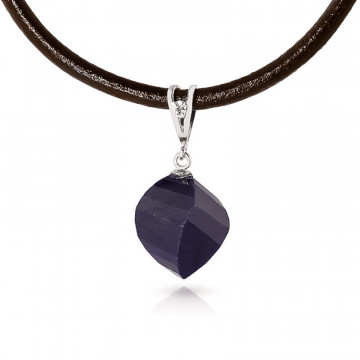 Sapphire Leather Pendant Necklace 15.26 ctw in 9ct White Gold