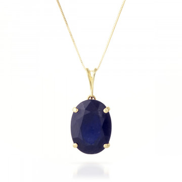 Sapphire Oval Pendant Necklace 8.5 ct in 9ct Gold
