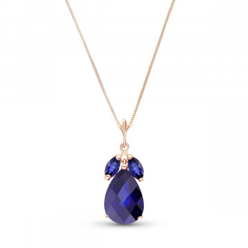 Sapphire Pear Drop Pendant Necklace 4.65 ct in 9ct Rose Gold