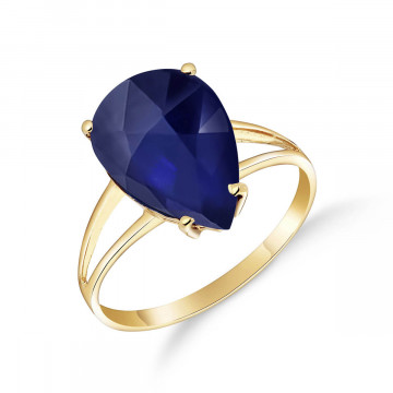 Sapphire Pear Drop Ring 4.65 ct in 9ct Gold