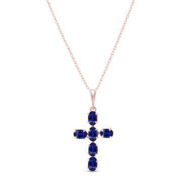 Sapphire Rio Cross Pendant Necklace 1.5 ctw in 9ct Rose Gold