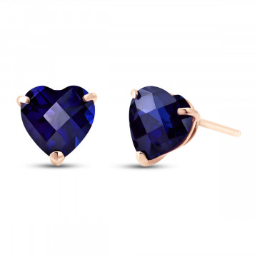 Sapphire Stud Earrings 3.1 ctw in 9ct Rose Gold