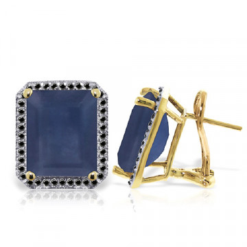 Sapphire Stud French Clip Halo Earrings 13.2 ctw in 9ct Gold