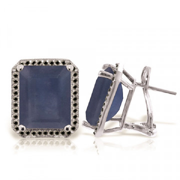 Sapphire Stud French Clip Halo Earrings 13.2 ctw in 9ct White Gold
