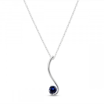 Sapphire Swish Pendant Necklace 0.55 ct in 9ct White Gold